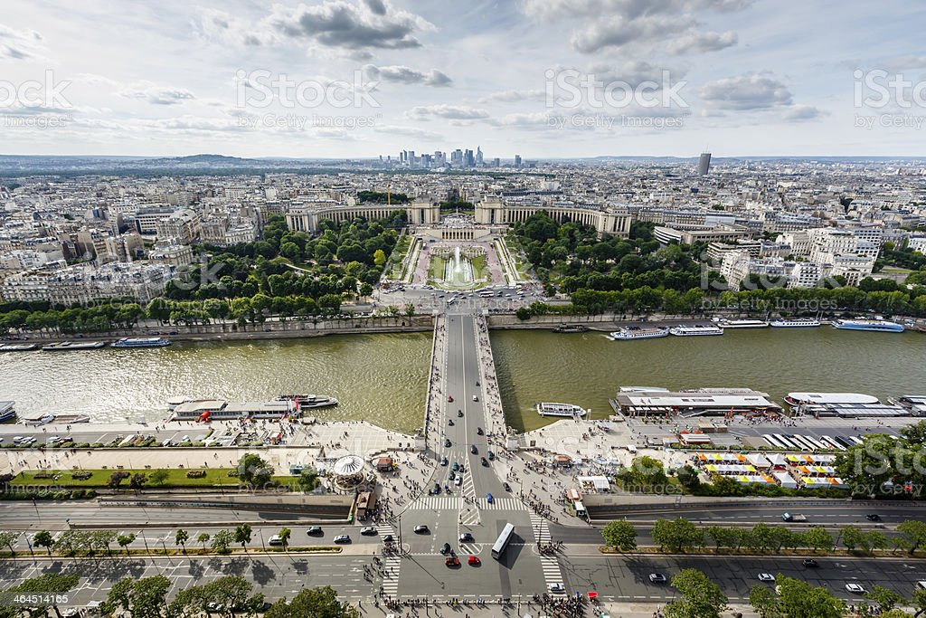 Aerial View on River Seine and Trocadero stock photo