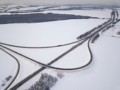 Aerial view on road landscape in winter season