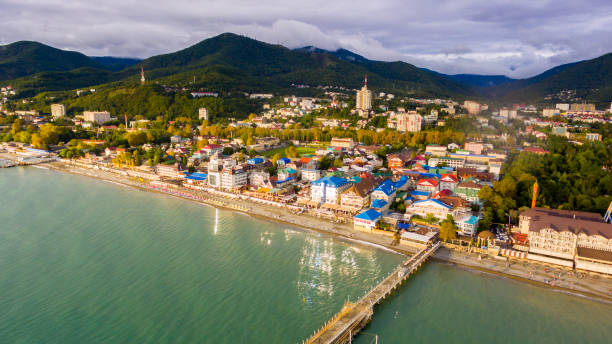 Aerial view on seashore resort area Aerial view on seashore resort area, Sochi, Russia sochi stock pictures, royalty-free photos & images