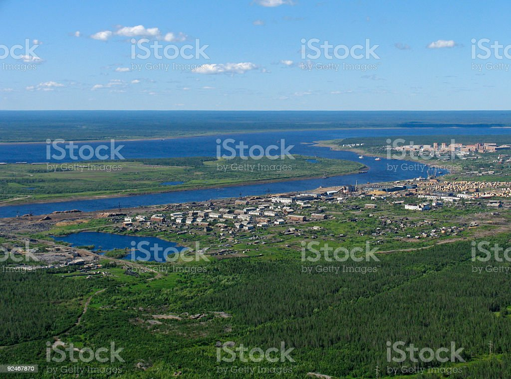 Aerial view on settlement royalty-free stock photo