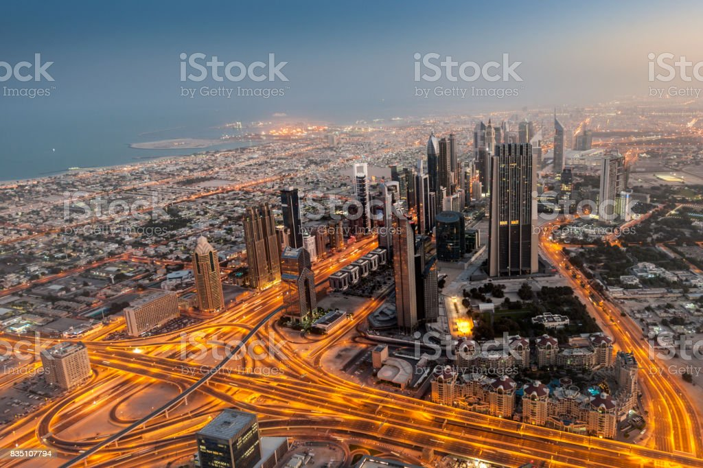 Aerial view on Sheikh Zayed Road, Dubai Downtown at dawn This image is GPS tagged stock photo