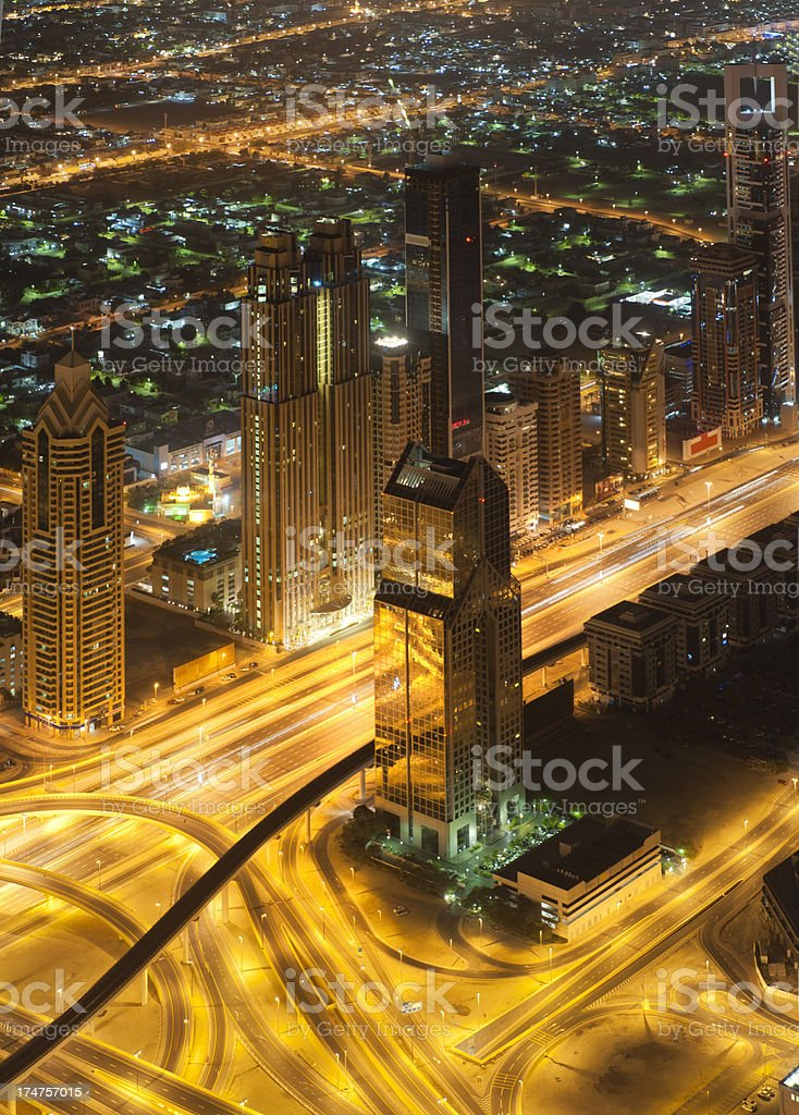 Aerial view on Sheikh Zayed Road, Dubai Downtown at night royalty-free stock photo