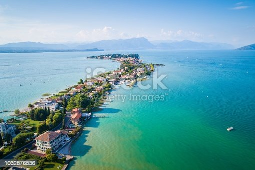 Aerial view on Sirmione city in Italy, Lombardy