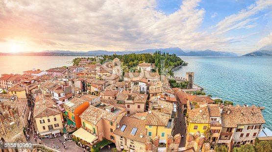 Panoramic aerial view on historical town Sirmione on peninsula in Garda lake, Lombardy, Italy