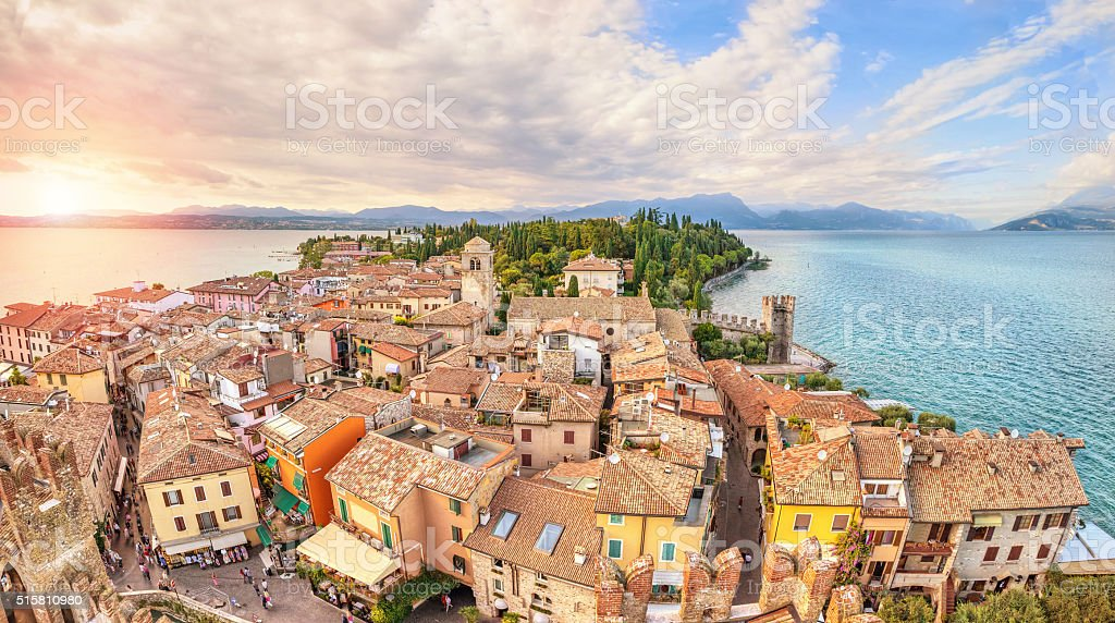Aerial view on Sirmione, Italy stock photo