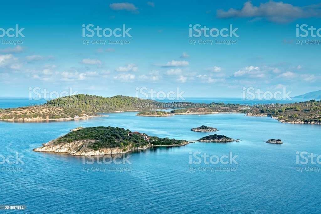 Aerial view on sithonian islands, Greece stock photo