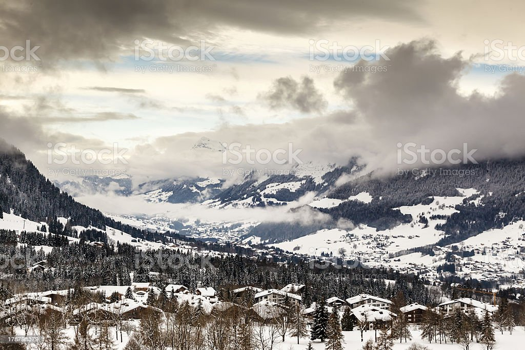 Aerial View on Ski Resort Megeve in French Alps, France royalty-free stock photo