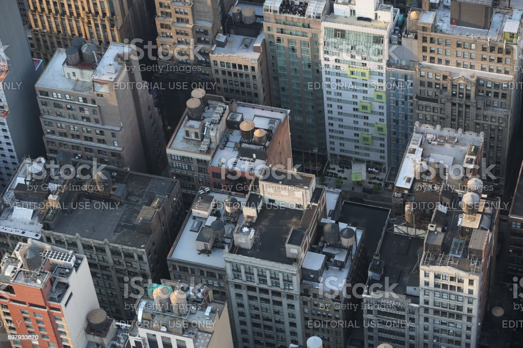 Aerial view on skyscrapers. America, New York City - May 13, 2017 stock photo