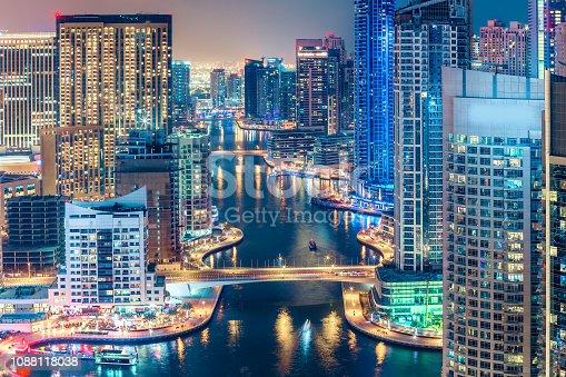 istock Aerial view on skyscrapers and highways of Dubai Marina, UAE. 1088118038