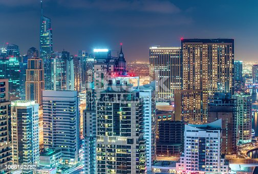 istock Aerial view on skyscrapers and highways of Dubai Marina, UAE. Multicolored travel background. 1066162782