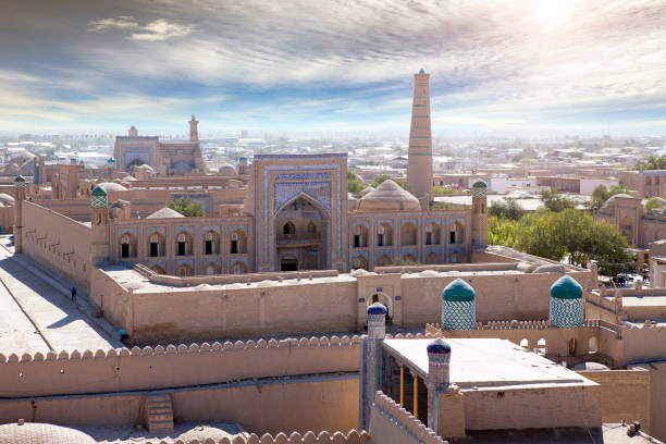 Aerial view on streets of the old city. Uzbekistan. Khiva.
