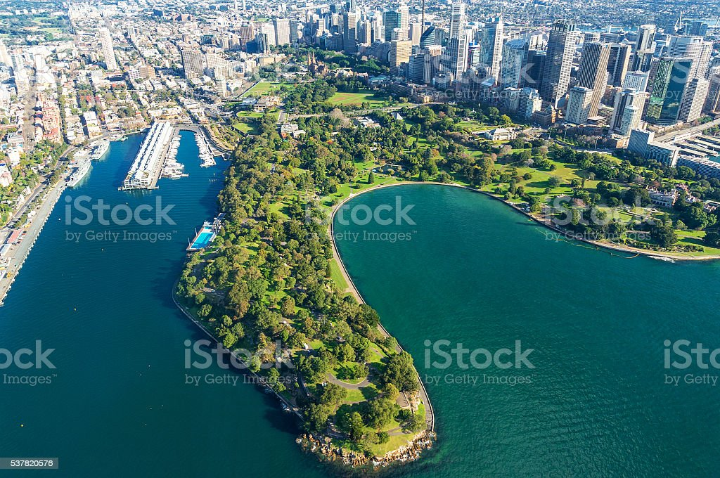 Aerial view on Sydney  Royal Botanic Gardens stock photo