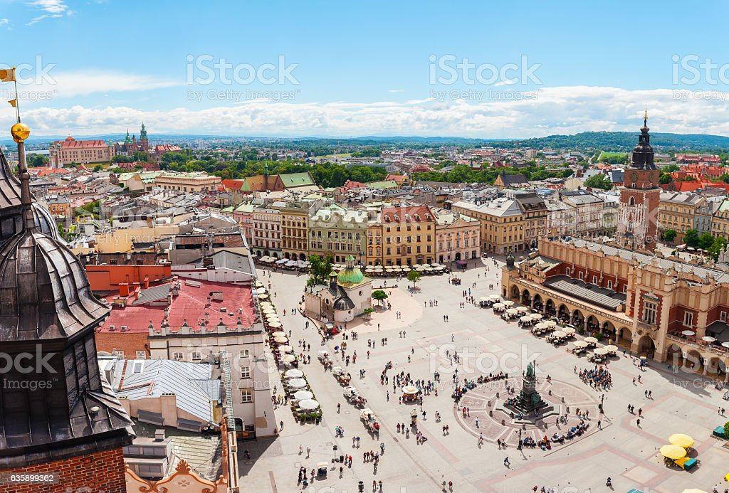 Aerial view on the central square and Sukiennice in Krakow. - Royalty-free Avrupa Stok görsel