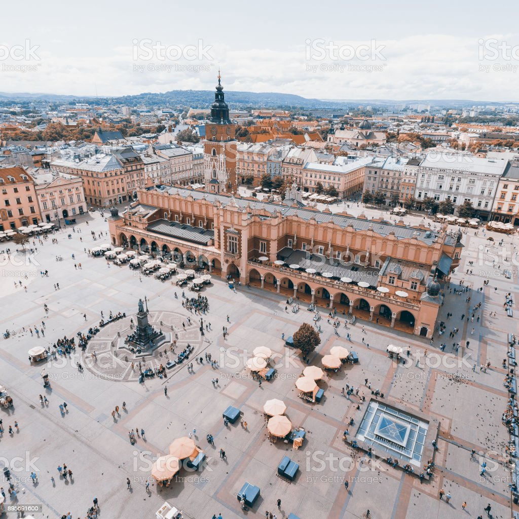 Aerial view on the central square and Sukiennice in Krakow. stock photo
