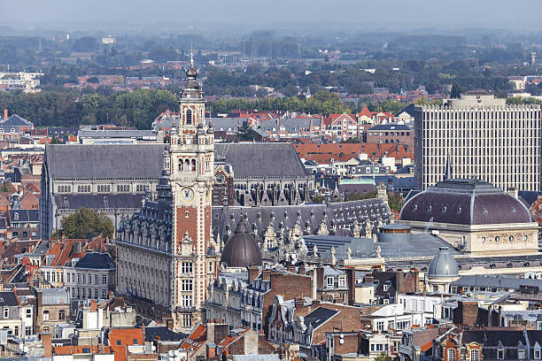 Aerial view on the centre of Lille, France Aerial view on the centre of Lille with Chamber of commerce building on the main point bell tower tower stock pictures, royalty-free photos & images