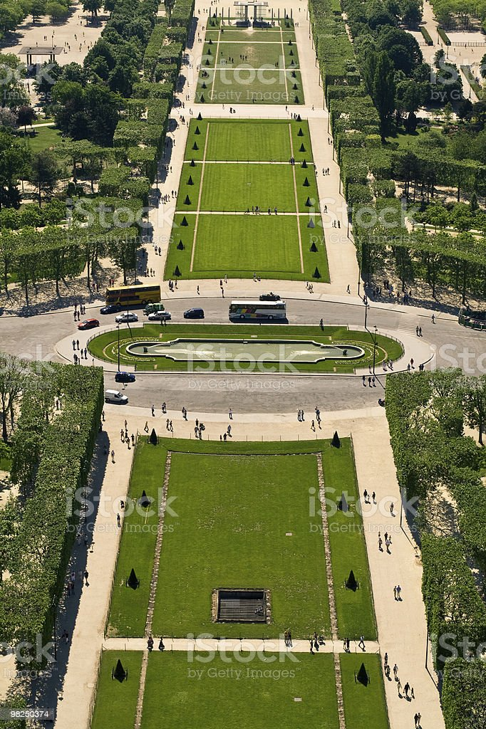 Aerial view on the Champs de Mars royalty-free stock photo