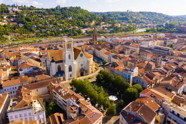 Aerial view on the city Agen. France stock photo