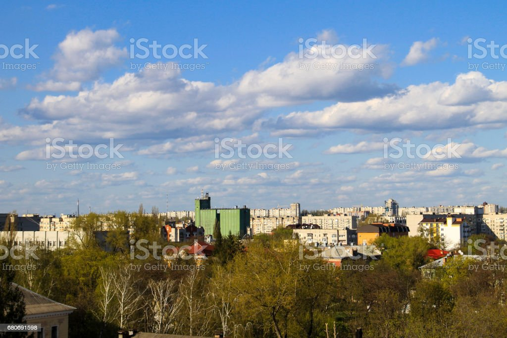 Aerial view on the city Kremenchug in Ukraine stock photo