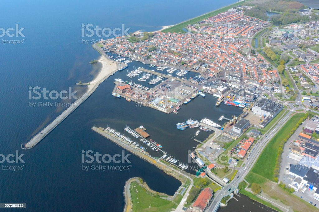 Aerial view on the former island of Urk stock photo