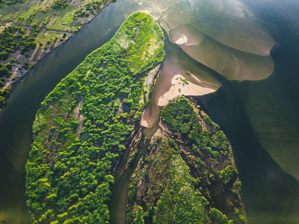 aerial view on the green islands of zambezi river stock photo