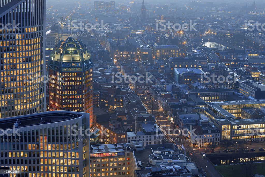 aerial view on The Hague's city centre stock photo