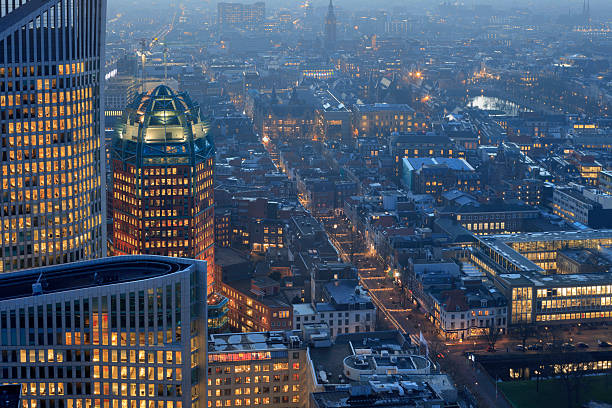 aerial view on the hague's city centre - den haag stockfoto's en -beelden