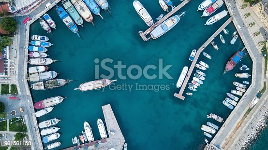 1066331604 istock photo Aerial view on the harbor with boats and yachts. Beautiful composition with sea transport 961561158