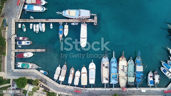 1066331604 istock photo Aerial view on the harbor with boats and yachts. Beautiful composition with sea transport 961561168