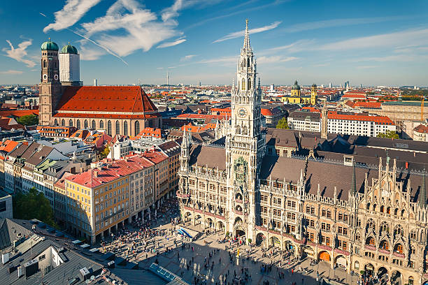 aerial view on the historic center of munchen - marienplatz bildbanksfoton och bilder