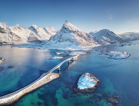 Aerial view on the Lofoten islands, Norway. Natural landscape from drone. Bridge adove islands. Aerial landscape from air in the Norway. Norway-image