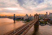 New York, United States of America. Aerial view on the Manhattan Bridge and New York skyline.