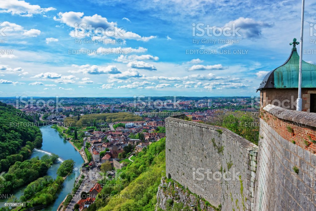 Aerial view on the old city and tower of the citadel in Besancon stock photo