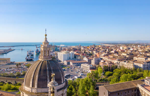 Aerial view on the port of Catania Aerial view on the port of Catania which is located next to the old town. catania stock pictures, royalty-free photos & images