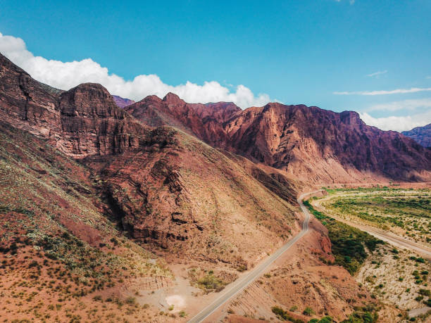 Aerial view on the red rocky mountains of Argentina stock photo