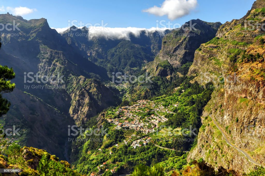 Aerial view on the rural village Curral das Freiras, Madeira Island Portugal stock photo