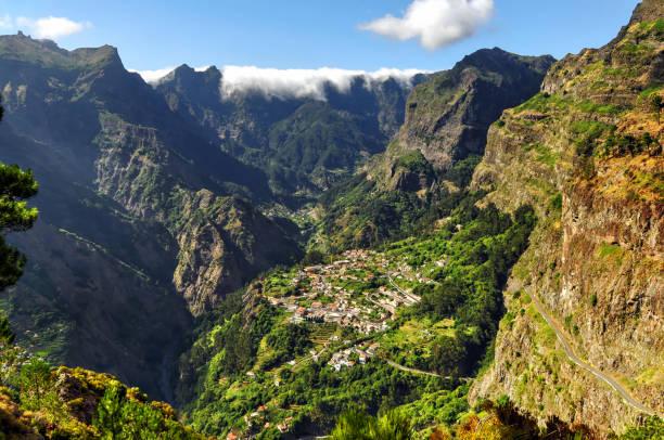 Aerial view on the rural village Curral das Freiras, Madeira Island Portugal stock photo