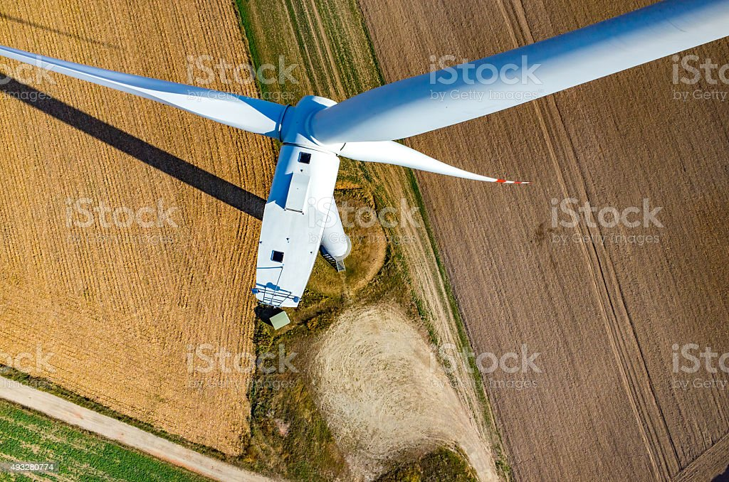 Aerial view on the windmill stock photo