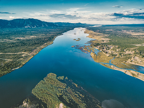 aerial view on the river of lower zambezi area in Zambia