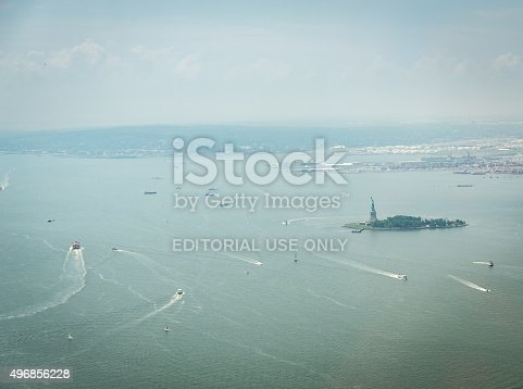 New York, USA - July 13, 2015: Aerial view on Upper Bay in New York. Upper Bay is the traditional heart of the Port of New York and New Jersey, and often called New York Harbor.