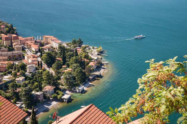 aerial view on varenna, como lake - lake como stock photos and pictures