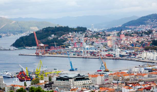 Aerial view on Vigo cargo port stock photo