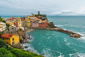 istock Aerial view on village of Vernazza, on the Cinque Terre coast of Italy 1211851066