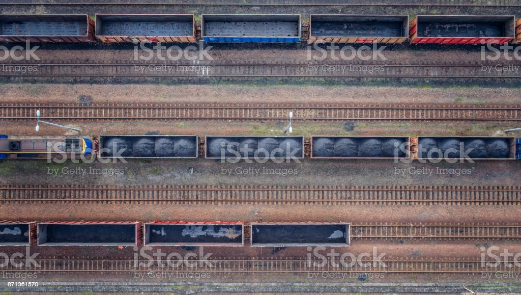 Aerial view on wagons with black coal. stock photo