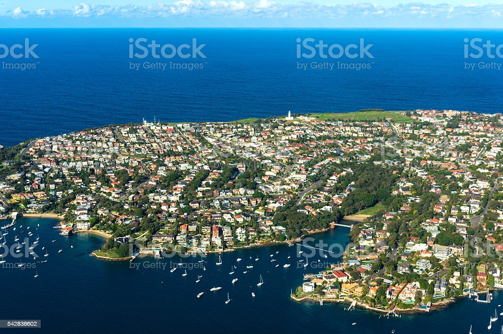 Aerial view on Watsons Bay and Tasman Sea stock photo