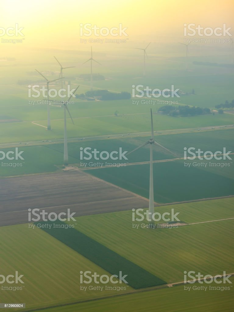 Aerial view on wind turbines in  fields in Flevoland, Netherlands stock photo