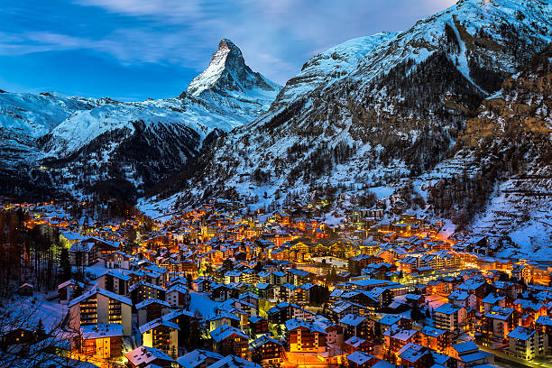 Aerial View on Zermatt Valley and Matterhorn Peak at Dawn Aerial View on Zermatt Valley and Matterhorn Peak at Dawn, Switzerland switzerland stock pictures, royalty-free photos & images