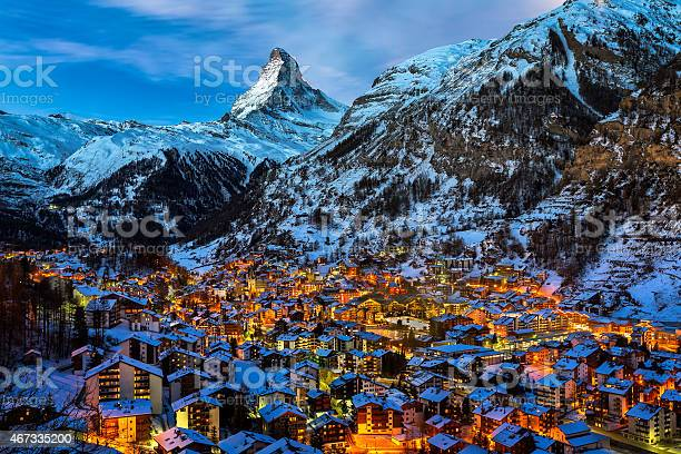 Aerial View on Zermatt Valley and Matterhorn Peak at Dawn, Switzerland