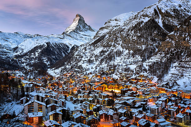Aerial View on Zermatt Valley and Matterhorn Peak at Dawn Aerial View on Zermatt Valley and Matterhorn Peak at Dawn, Switzerland zermatt stock pictures, royalty-free photos & images
