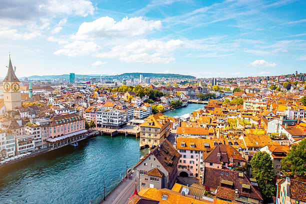 Aerial view on Zurich city in Switzerland Aerial panoramic cityscape view on the old town of Zurich city in Switzerland zurich stock pictures, royalty-free photos & images