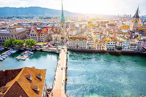 Aerial view on Zurich city in Switzerland Aerial panoramic cityscape view on the old town of Zurich city in Switzerland fraumunster stock pictures, royalty-free photos & images